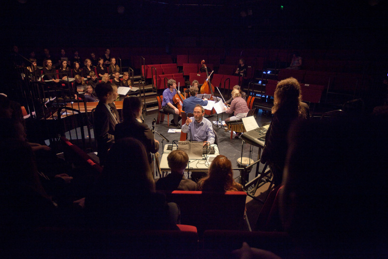 Students perform in a large scale end of term concert (photography by Andy Brown)